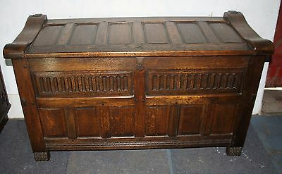 Exceptional carved oak coffer blanket chest Arts and Crafts