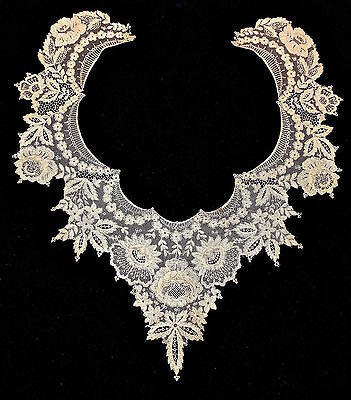 Antique Brussels Point De Gaze-Applique d'Angleterre-Point D'Alenson Ecru Collar