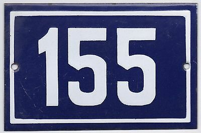 Old blue French house number 155 door gate plate plaque enamel metal sign steel