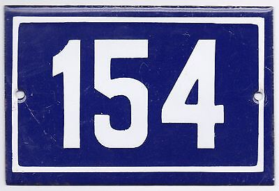 Old blue French house number 154 door gate plate plaque enamel metal sign steel