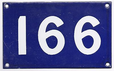 Old Australian used house number 166 991 door gate enamel metal sign French blue