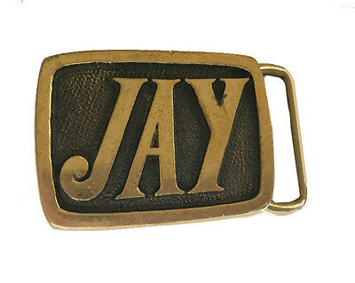 Vintage Jay Name Belt Buckle Men's Gift Idea for Dad Gold J Letter First Husband