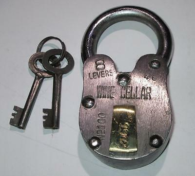 Antique Style Wine Cellar Padlock w/ Skeleton Key Lock United States Mint Lock