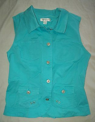 CHRISTOPHER & BANKS Teal Sleeveless Button Blouse Woman's Size Small Vest NICE