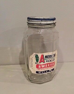 Vtg Anthropomorphic American Brand Pickles Glass Jar Label New Orleans Louisiana