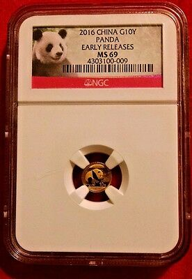 2016 China Gold Panda 1 g 10 Yuan NGC MS69 Early Releases Panda Label  Beautiful