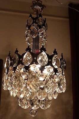 Antique Vnt.French Basket Style Crystal Chandelier Lamp Light 1940's.12 in RARE