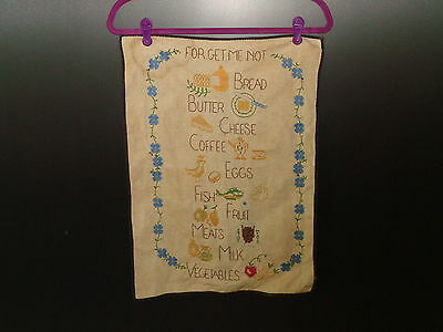 Vintage Embroidery Forget Me Not with Foods & Dairy Listed 1940's - 1950's