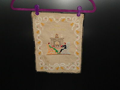 Vintage Embroidery of 19th Century Scene Our Later Years 1940's - 1950's