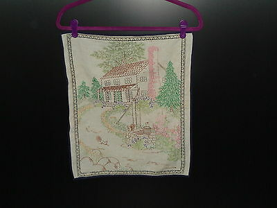 Vintage Embroidery of a House with a Well and Squirrels 1940's - 1950's