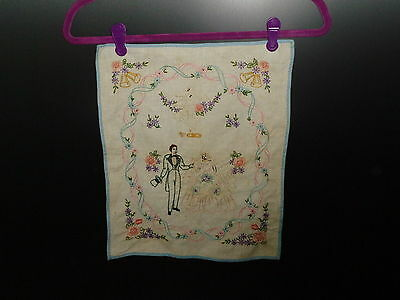 Vintage Embroidery of a Wedding with Two Doves 1940's - 1950's