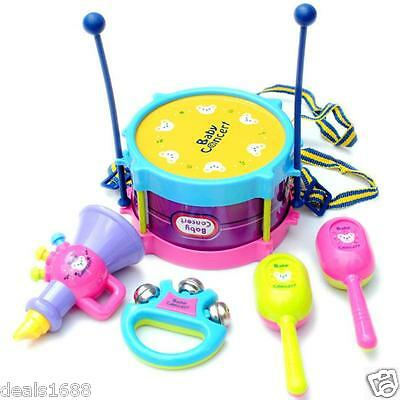 5PCs/Set Kids Baby Roll Drum Musical Instruments Band Kit Children Toy US Stock