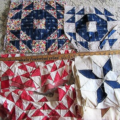 VTG Antique Quilt Blocks flying Geese Calico Indigo FABRIC DBL Cinnamon Pink Lot