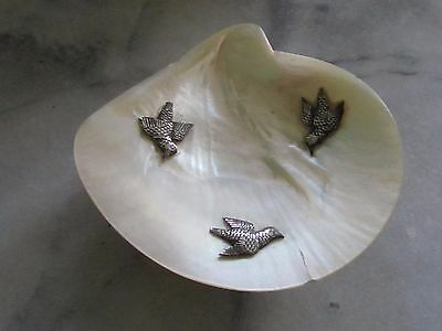Vintage Chinese Sea Shell (Oyster?) Dish/bowl W/ Silver Birds/feet. 1920's.