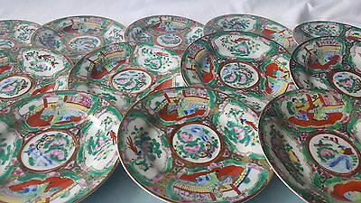 """Set of 12 Vintage Chinese Export Rose Medallion 6"""" Plates Exc FREE SHIPPING"""