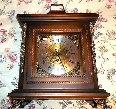 Very Large Brass Mounted Westminster Chiming Bracket Clock In Walnut Finish