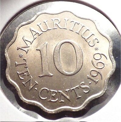 Mauritius 10 Cents 1969, XF+ Coin, British Crown Colony Issue, KM 33