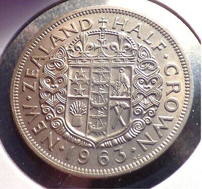 New Zealand 1/2 Crown 1963, XF Coin, QEII Issue, KM 29.2