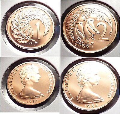 New Zealand 1 & 2 Cents 1984, Pair of Proof Coins w/ Fern & Kowhai Flowers