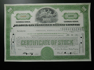 St. Louis - San Francisco Railway Co.(Frisco) stock certificate - Common