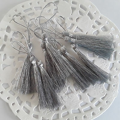 💖~IN OZ~10 x SILVER Polyester Tassels for crafts with loop 80mm~Ideal Bookmarks