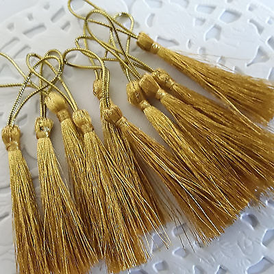♡♡~IN OZ~10 x GOLD  Polyester  Tassels for crafts 80mm long ~Ideal Bookmarks