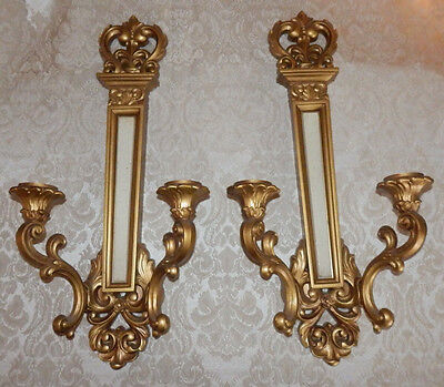 Vintage 1969 Pair Gold SYROCO Double Wall Candle Sconces Style 4061