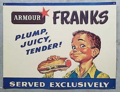 vintage Armour Star Franks Stadium Tin Sign Great Condition