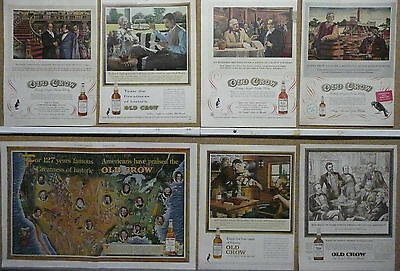 Old Crow Bourbon Whiskey Ad Lot (15) 1950-1960