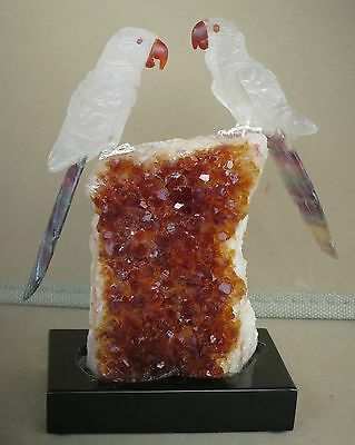 "Rock Crystal and Fluorite Macaw Pair on Citrine  5 1/2""""-Peter Muller"