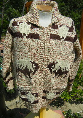 Native American Theme Sweater Jacket Mens MEDIUM - BISON BUFFALO - Excellent