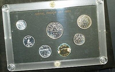 1971 Nepal Proof Set - all original packaging - note corrosion on golden coin