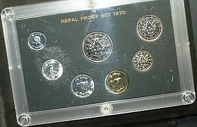 1970 Nepal Proof Set - all original packaging - note corrosion on two lower coin