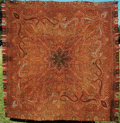 LARGE ANTIQUE PAISLEY CASHMERE KASHMIR Hand Woven PIANO SHAWL SCARF 62 x 62