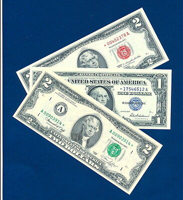 1963 $2 Red Seal Star Note  1957 $1 Silver Certificate Star All  3 Unc.  $$$