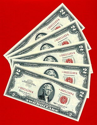 1963 $2  Red Seal Star Note All Five Uncirculated Consecutive  High Grade Gems
