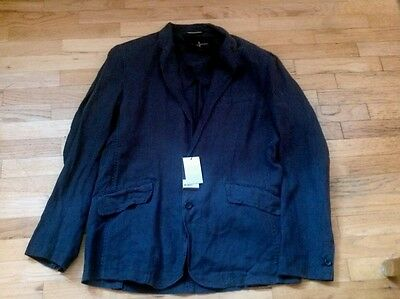 Nwt Black Brown mens blazer linen unlined navy blue L