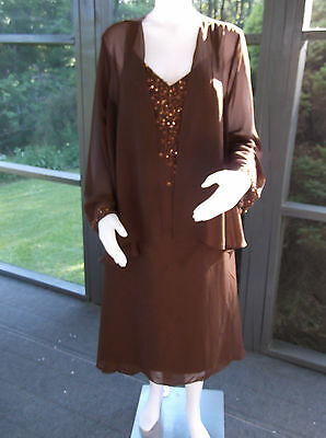 NWT Mother of the Bride/Groom 2 Pc Chocolate Tea Length   Size 18