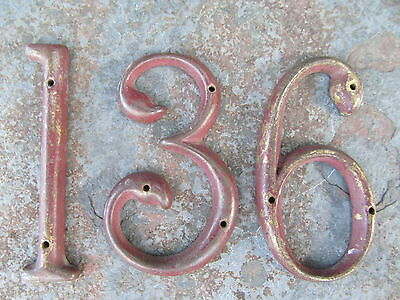 Antique Solid Brass Mid 19Th Century House Numbers 1 3 6