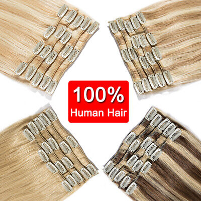 Premium Clip in Hair Extensions FULL HEAD 100% Real Human Remy Hair Double Weft