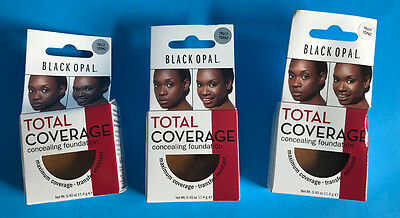 (3) Black Opal Total Coverage Concealing Foundation 0.40 oz. Truly Topaz