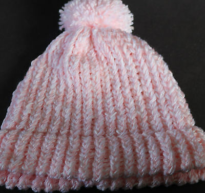 Ladies Beanies - 2 Hand Knitted - Brand New - Pink/blue (Cc)