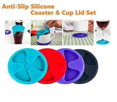 6Pcs Silicone Coaster Set Anti-Slip Cup Lid Wine Glass Mat Drink Markers Pad