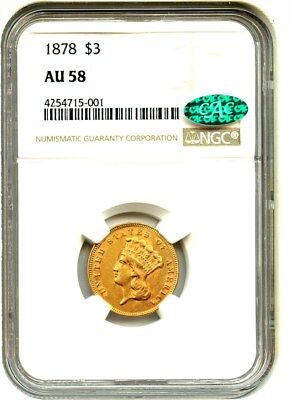 1878 $3 NGC/CAC AU58 - Popular Gold Type Coin - 3 Princess Gold Coin