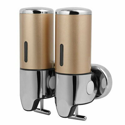 ABS Wall Mount Double Chember Soap Dispenser Gold Tone, 17 oz Each Capacity