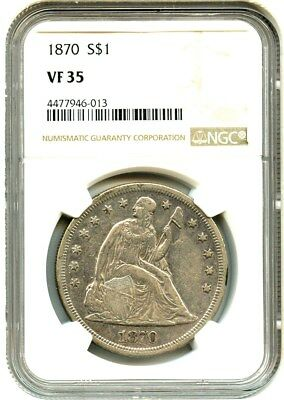 1870 $1 NGC VF35 - Perfect Type Coin - Liberty Seated Dollar - Perfect Type Coin