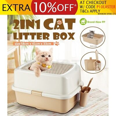 Portable Hooded Cat Toilet Litter Box Tray House With Handle and Scoop Carrier