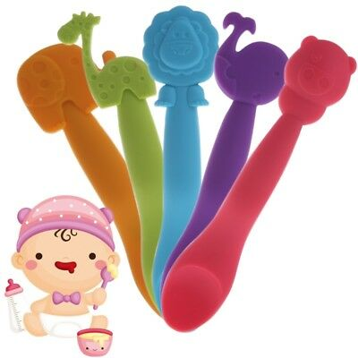 Silicone Animal Thermal Baby Kids Tableware Weaning Spoon Feeding Spoon