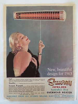 Vintage advertising original Australian 1960s ad SUNRAY INFRA-RED HEATER