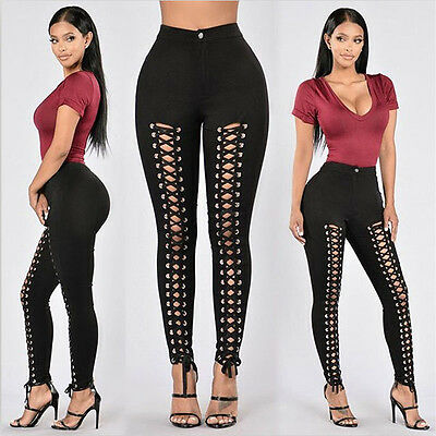 Women Slim Legging Pencil Pants High Waist Eyelets Bandage Lace Up Trouser UK